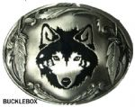 Wolf Head and Feathers Belt Buckle with display stand. Product Code: OE7